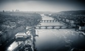 Drone shot of the Vltava river with its multiple bridges