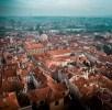 Drone shot over the rooftops of Mala Strana neighborhood in Prag