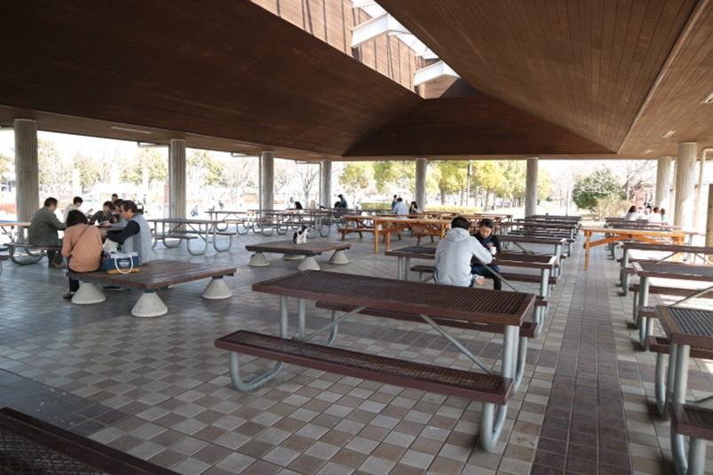 羽生水郷公園けやき広場脇の休憩所