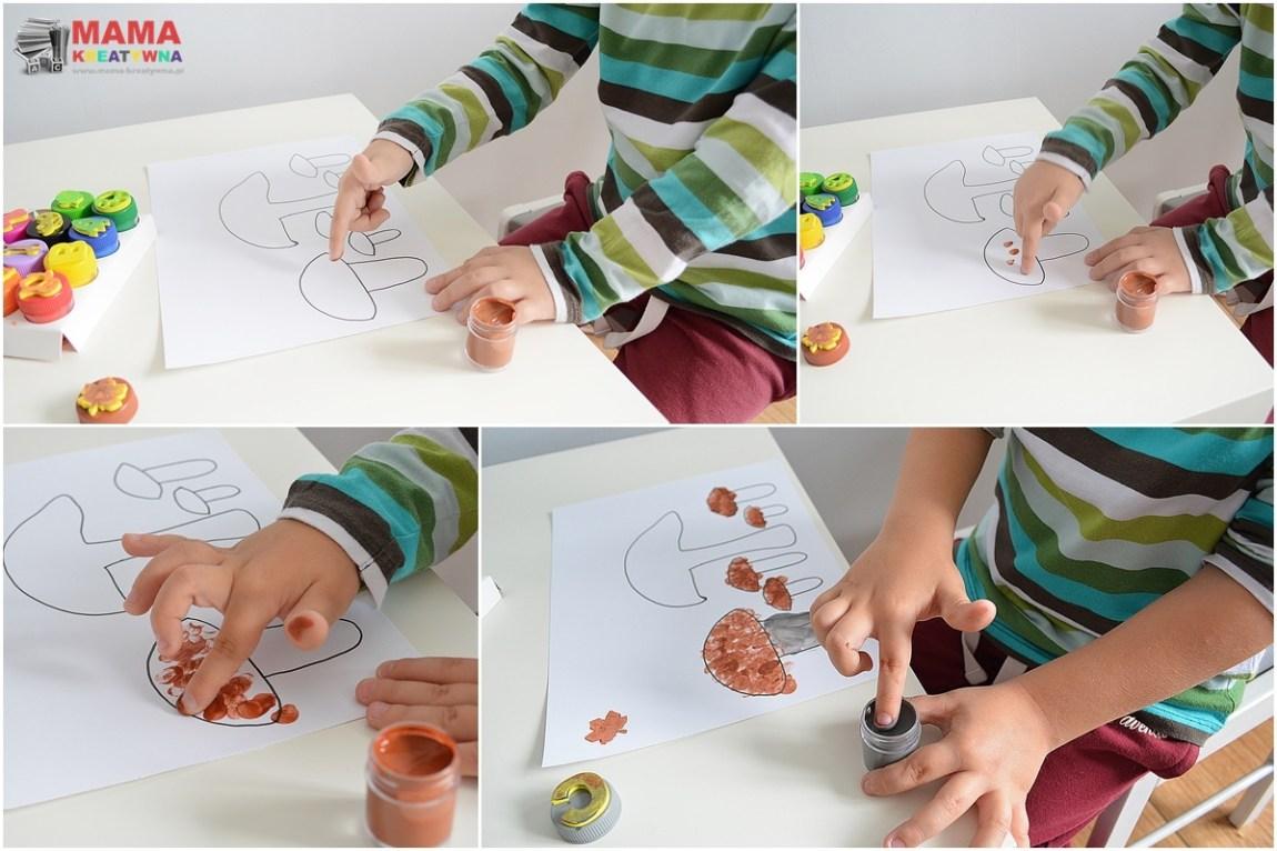 grzybki malowane palcami