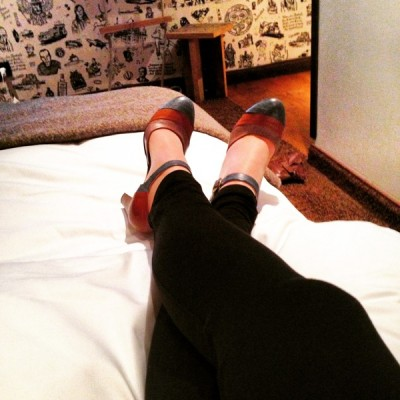 Chillen vor dem Event in meinen Sitz-Schuhen