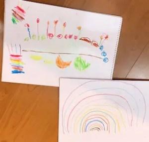 カラフルなケーキと虹の絵
