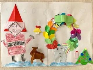 息子が折り紙で作ったサンタとリース