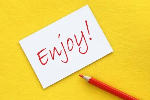 Enjoy!と書かれたカード