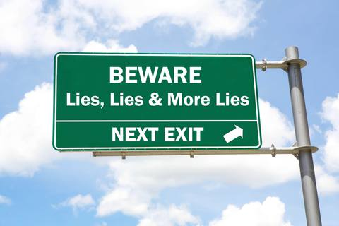 Road sign - lies and more lies