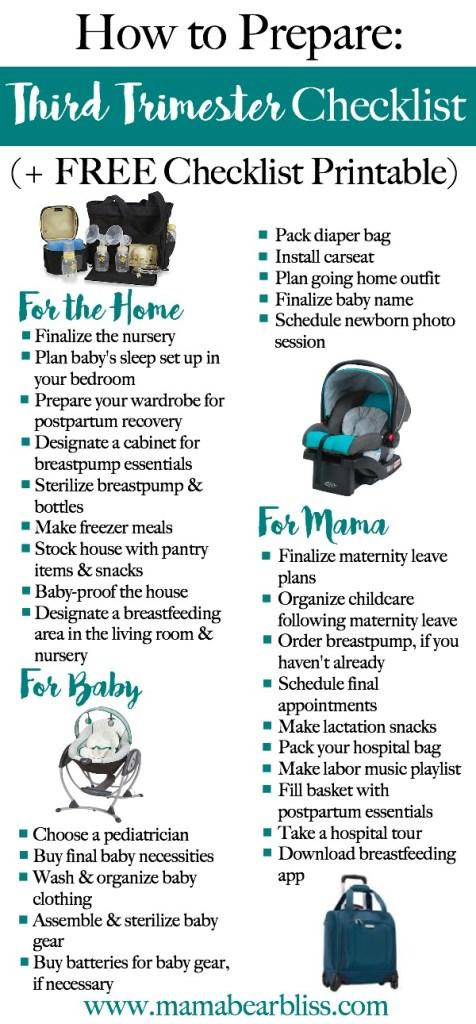 Third Trimester Checklist | How to Prepare (+ FREE Checklist Printable) | www.mamabearbliss.com