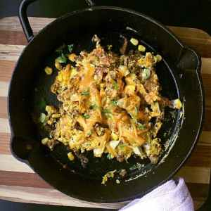 Leftover Taco Scrambled Eggs. The best way to use up leftover taco meat!