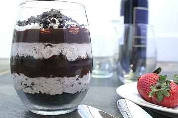 Oreo Cheesecake Parfait for Two. Oreo cheesecake meets ganache in this romantic parfait for two.