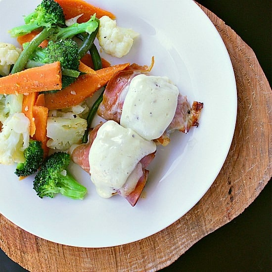 Prosciutto Wrapped Chicken Thighs with Pesto. Three killer ingredients combine to create an epic low carb dish.