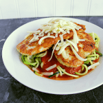 Low Carb Chicken Parmesan with Zoodles. This epic Low Carb Chicken Parmesan with Zoodles will blow your mind! It's the perfect way to get that spaghetti fix I know you've been craving!