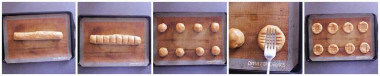 Process collage of how to make low carb peanut butter cookies.