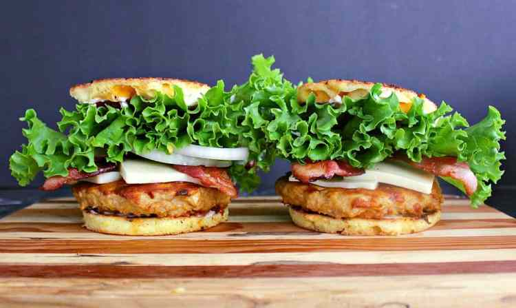 Two low carb turkey burgers side by side.