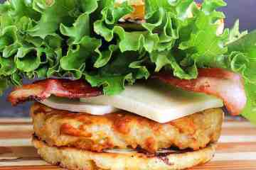 Juicy Low Carb Turkey Burgers brushed with a delicious Low Carb BBQ Sauce and sandwiched together with your favourite toppings by a 90 Second Keto Bread.