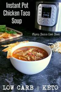 Pin this Instant Pot Low Carb Chicken Taco Soup recipe for later!