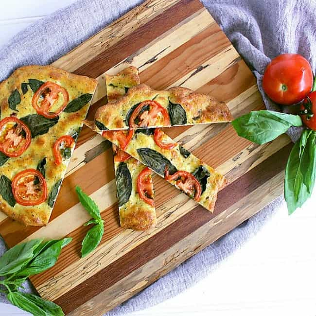Tomato Basil Low Carb Flatbread sliced into strips.