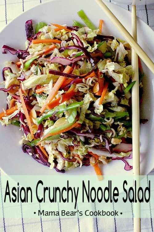 This Asian Crunchy Noodle Salad is loaded with crisp vegetables for a healthy addition to a sweet and salty crunchy noodle side dish. #salad #sidedish #mamabearscookbook