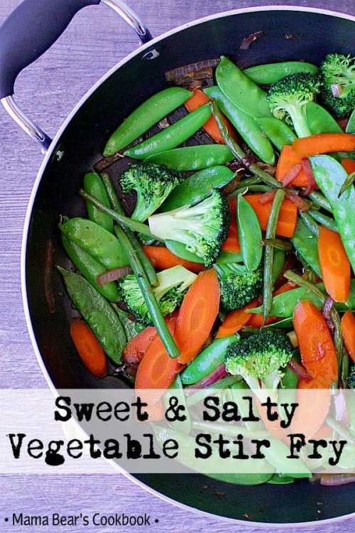 A deliciously versatile dish, this crisp Sweet and Salty Vegetable Stir Fry is the perfect healthy side dish! #sidedish #vegetables #stirfry #mamabearscookbook