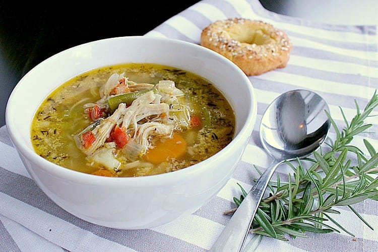 Warm your bones with this delicious and nutritious Instant Pot Low Carb Chicken Vegetable Soup filled with veggies, chicken and herbs.