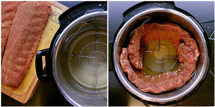Photo on left: Ribs all covered in rub and ready for the instant pot. Photo two: Ribs inside the instant pot in a circle.