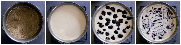 First process collage of how to make a keto blueberry cheesecake.
