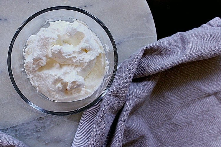 Bowl of whipped cream.