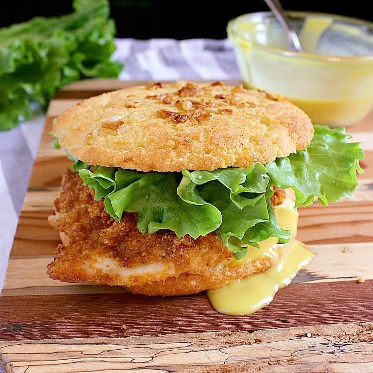 Crispy Keto Chicken Burger with a Low Carb Onion Bun.