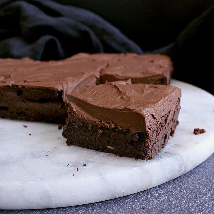 Brownie covered in chocolate frosting.