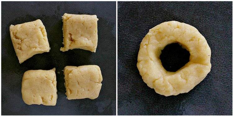 Dough cut into squares, then formed into circles.