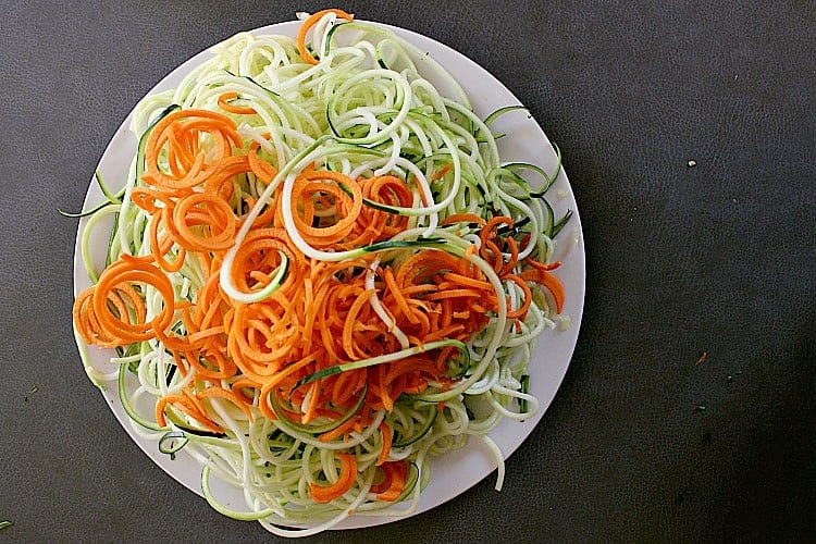 spiralized zucchini and carrot.