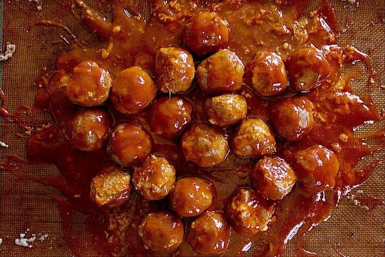 Meatballs smothered in low carb bbq sauce.