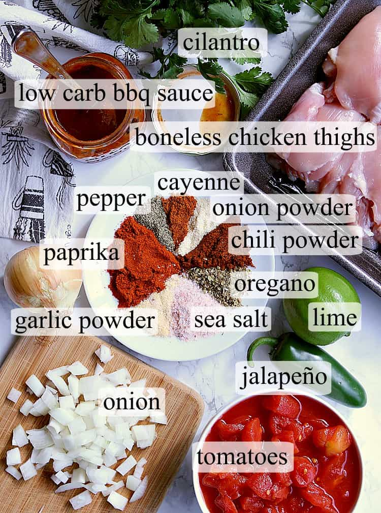 All ingredients needed to make salsa bbq keto slow cooker chicken thighs.