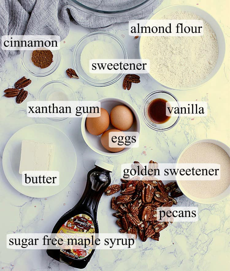 All ingredients used in this Keto Pecan Pie recipe.