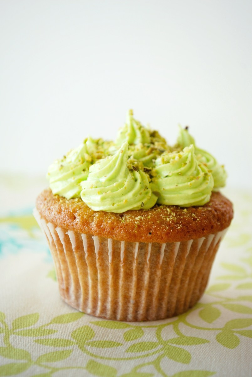 Lime & Pistachio cupcakes with lime cream cheese frosting
