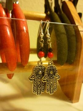 Silver Henna Hand earrings