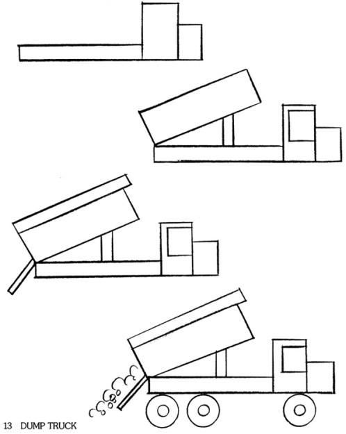 как нарисовать разгрузку грузовика