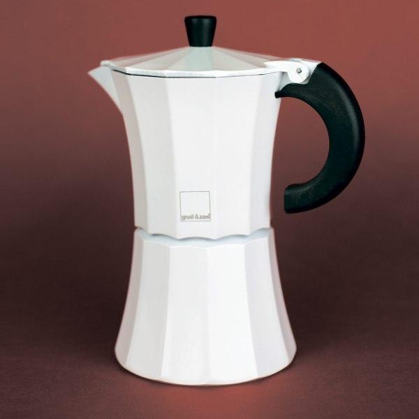 Мока Gnali and Zani Гейзерная кофеварка на 6 чашек. Белая