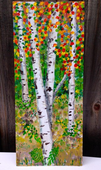 Acrylic paint on 8 x 18 inch cedar shim.