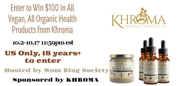 Enter to Win $100 in All Vegan, All Organic Health Products from Khroma