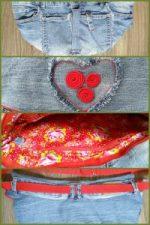 afwerking bij de heuptas van een oude spijkerbroek