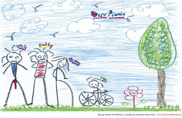 Desenho feito por criança abusada sexualmente