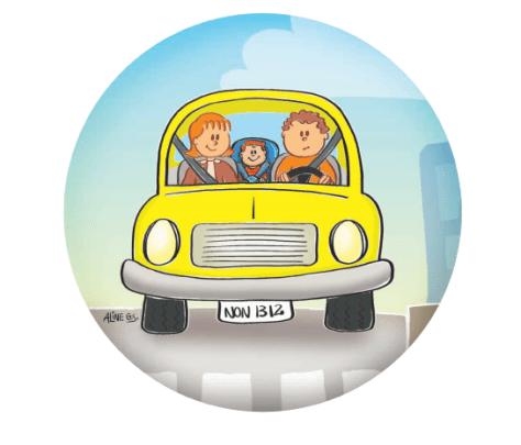 Ilustração assento infantil no carro