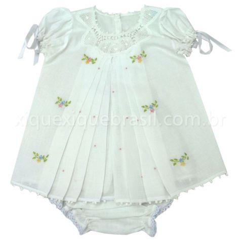 Enxoval de bebê foral: vestidinho para bebê com renda Renascença