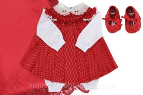 Casinha de abelha vermelho para saída maternidade vestidos infantis