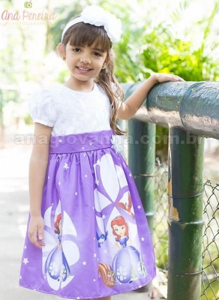 Vestidos infantis de festa Princesa Sofia