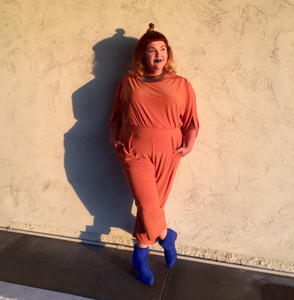 Orange plus size jumpsuit