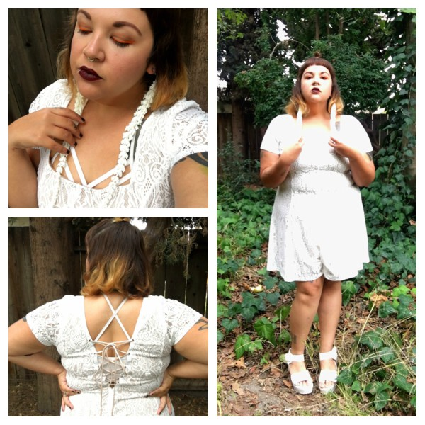 White lace romper and Etsy earrings