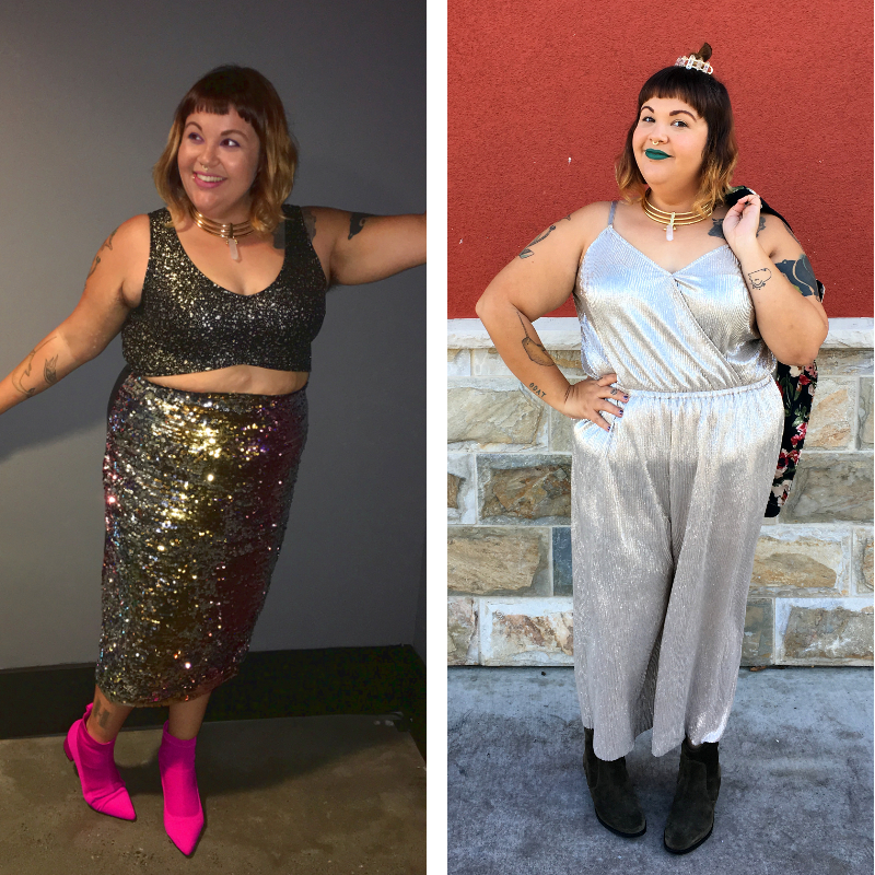 Silver jumpsuit and sequin skirt