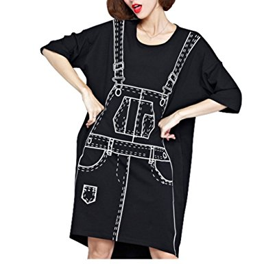 Carolbar Women's Plus Size 3D Suspender Skirt Printed T Shirt Dress