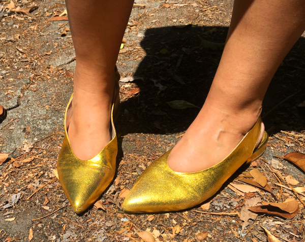 ASOS gold slingback flats