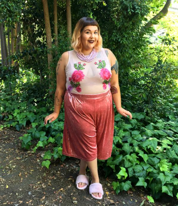 Floral mesh plus size bodysuit